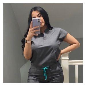 FIGS Rafaela Mandarin Collar Scrub Top- Graphite
